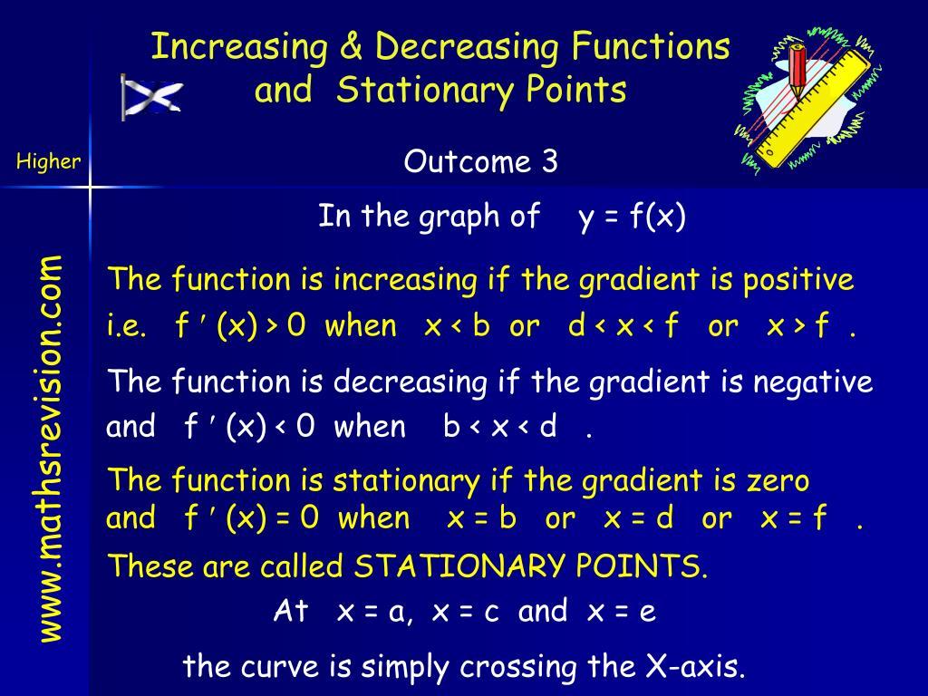Increasing & Decreasing Functions