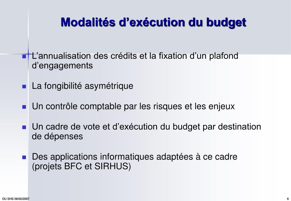 Modalités d'exécution du budget