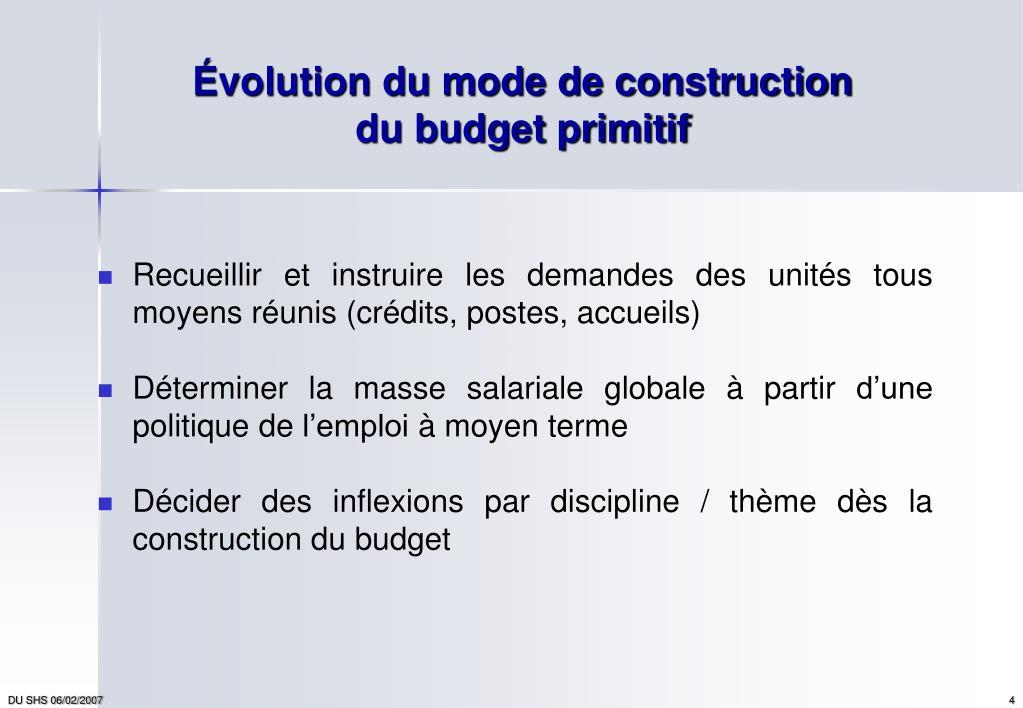 Évolution du mode de construction du budget primitif