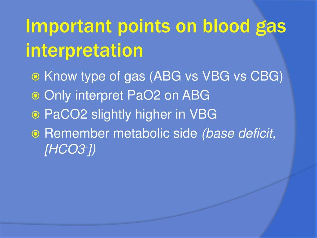 Important points on blood gas interpretation
