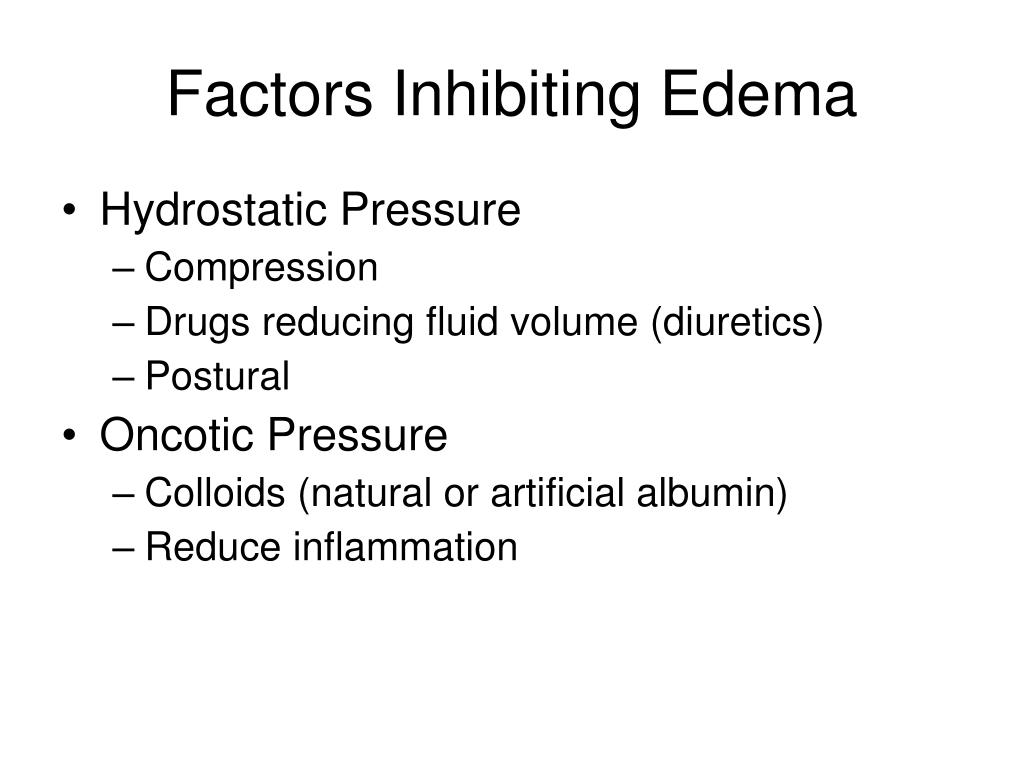 Factors Inhibiting Edema