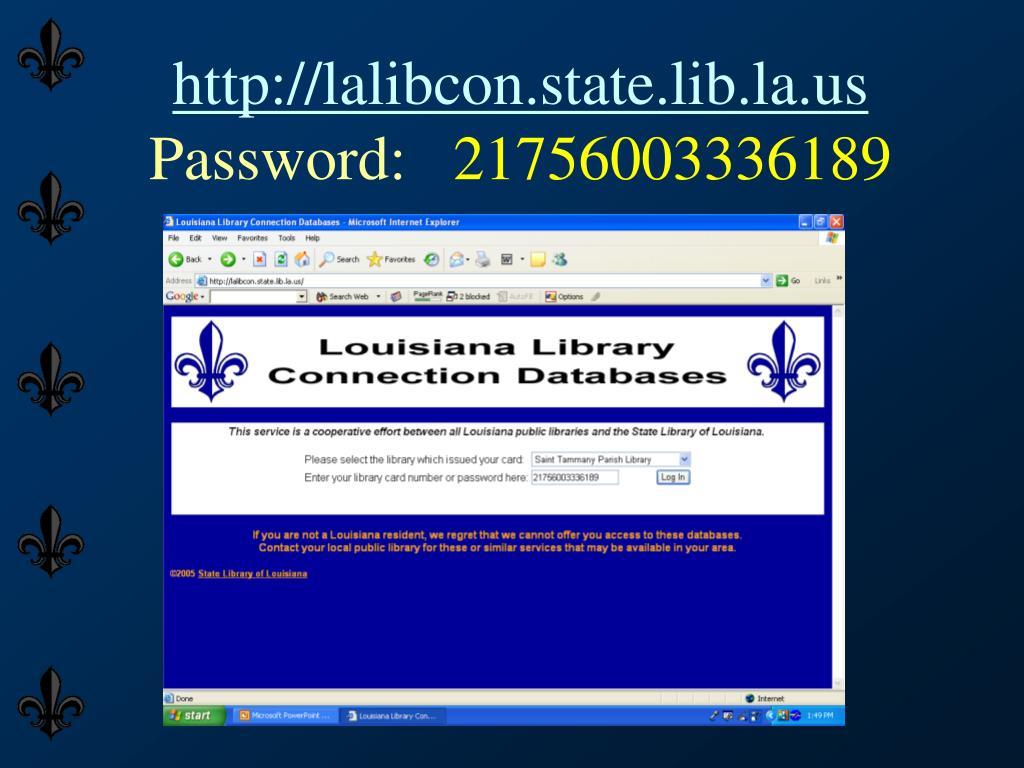 http://lalibcon.state.lib.la.us
