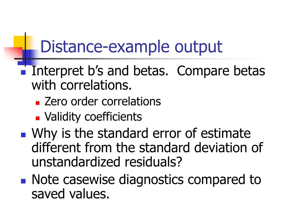 Distance-example output