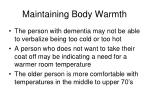 maintaining body warmth