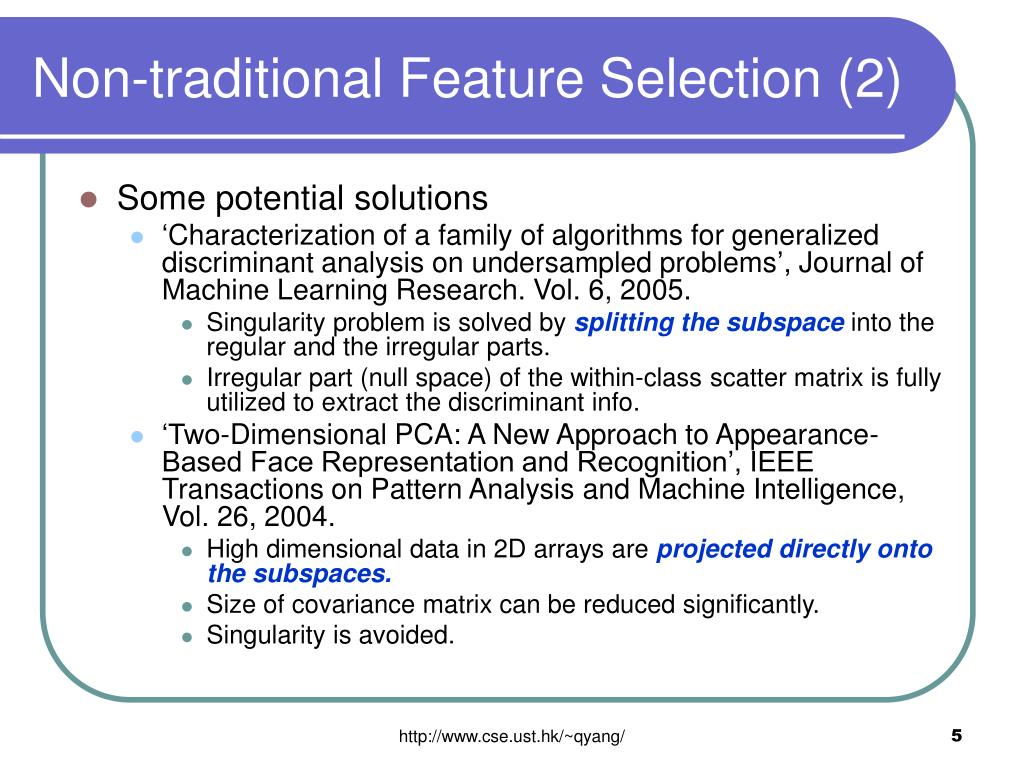 Non-traditional Feature Selection (2)