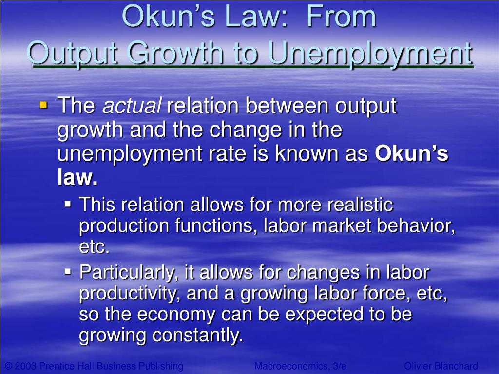 okun laws Okun's law is even more atheoretical, if not indeed antitheoretical this simple  linear relationship between the percentage change in output and absolute.
