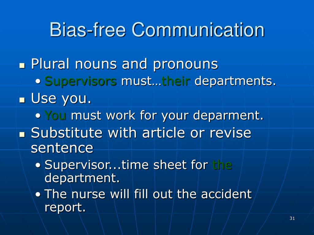 Bias-free Communication