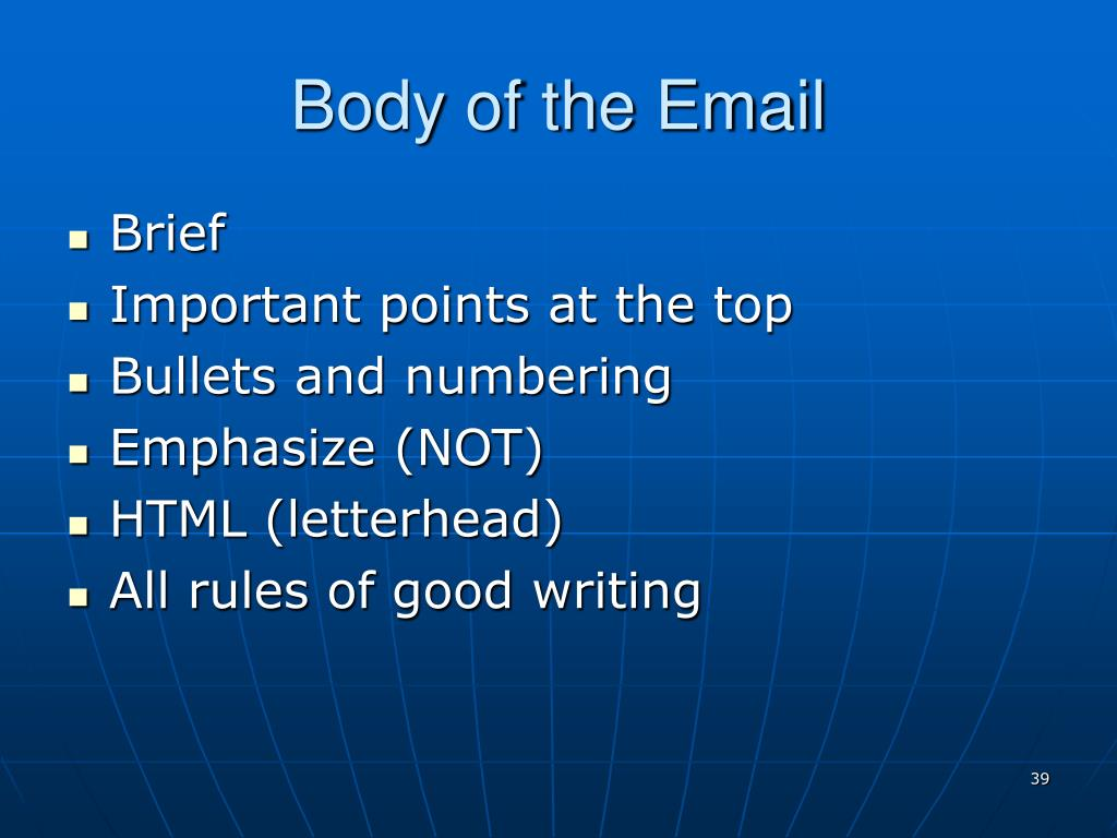 Body of the Email