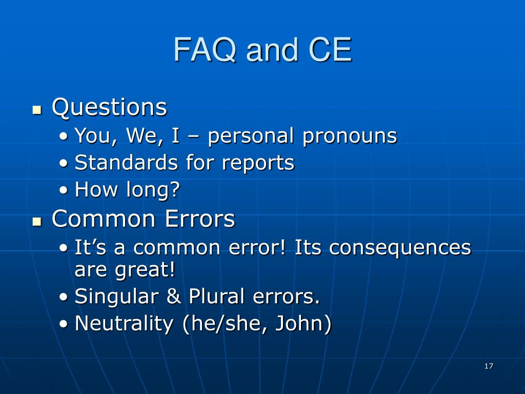FAQ and CE