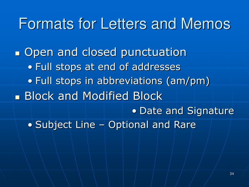 Formats for Letters and Memos