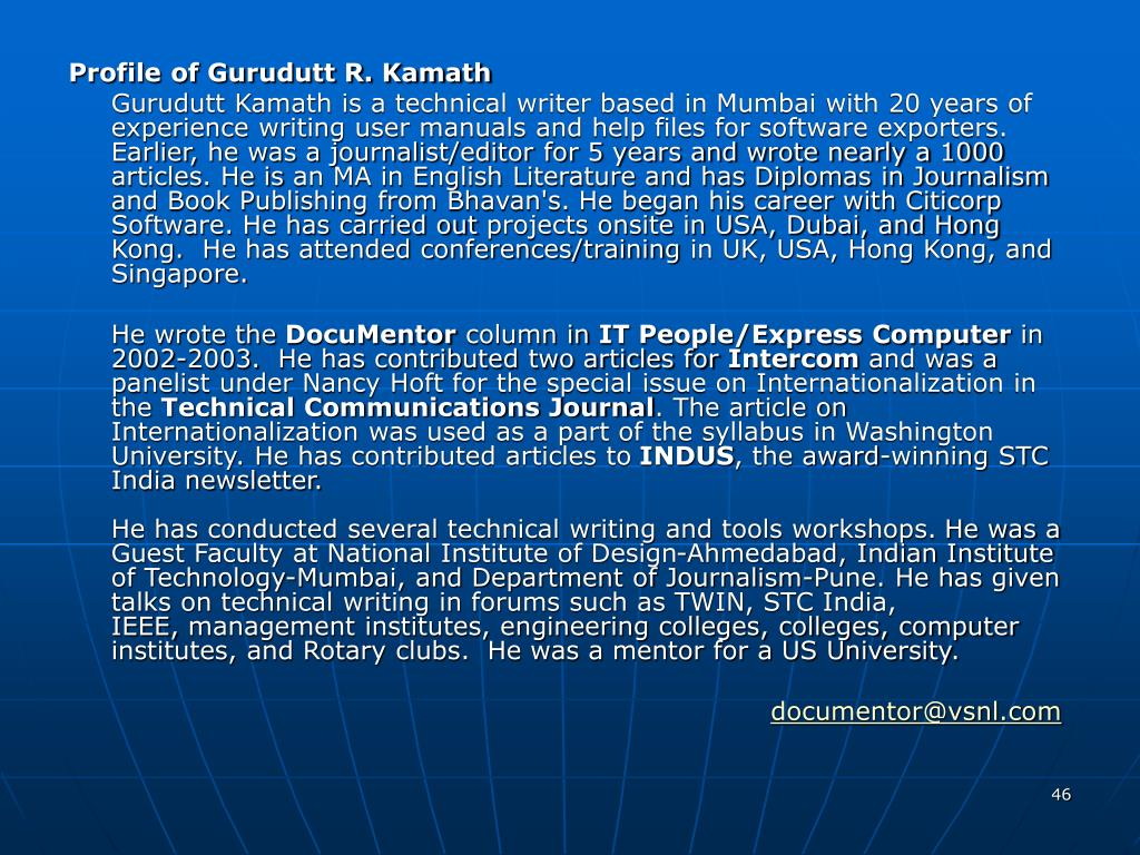 Profile of Gurudutt R. Kamath