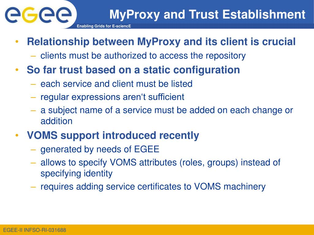 MyProxy and Trust Establishment