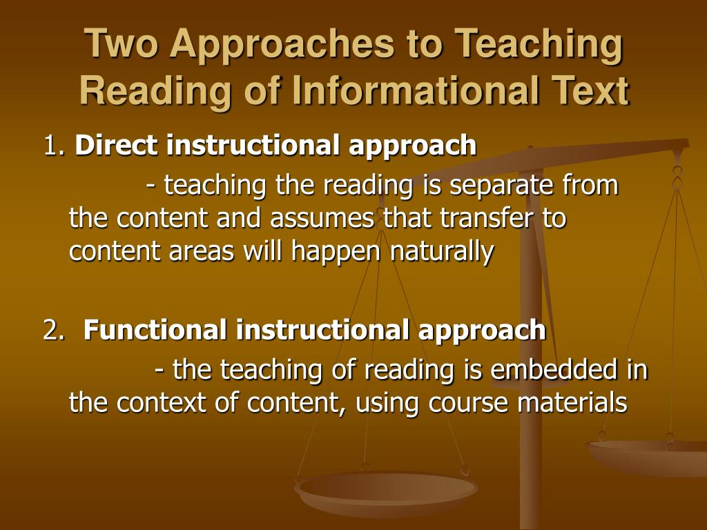 approaches to teaching reading Early reading methods when you're ready to start teaching reading to your child reading wars have raged among proponents of these two approaches.
