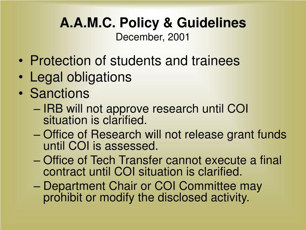 A.A.M.C. Policy & Guidelines