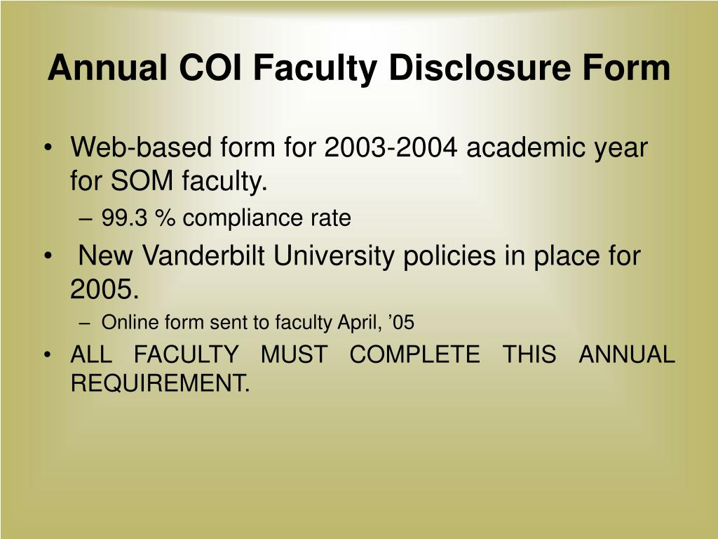 Annual COI Faculty Disclosure Form