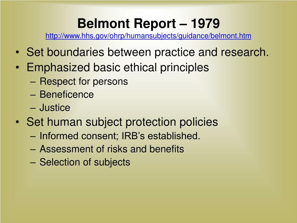 Belmont Report – 1979