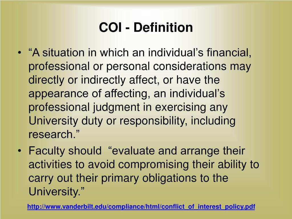 COI - Definition
