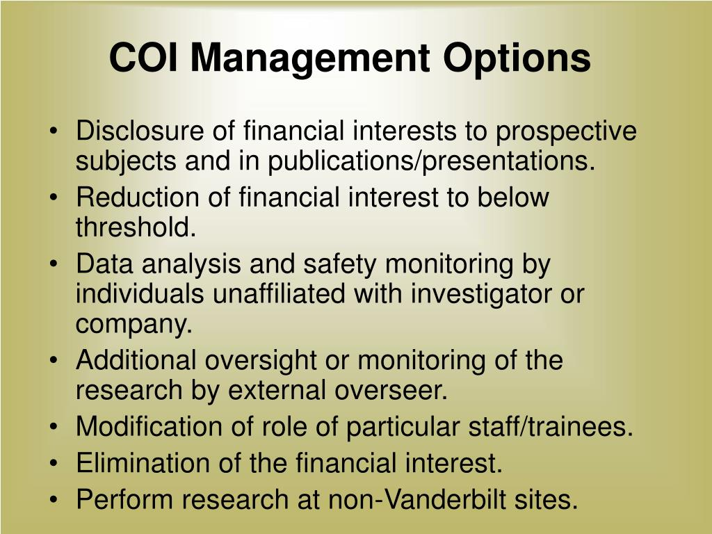 COI Management Options