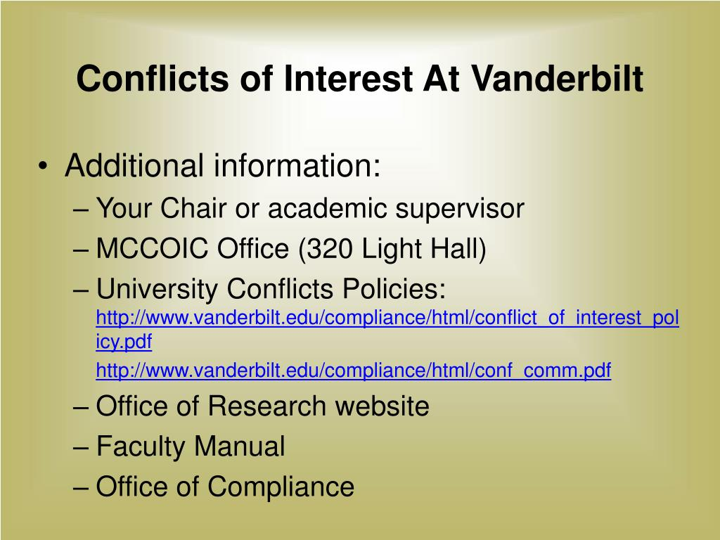 Conflicts of Interest At Vanderbilt