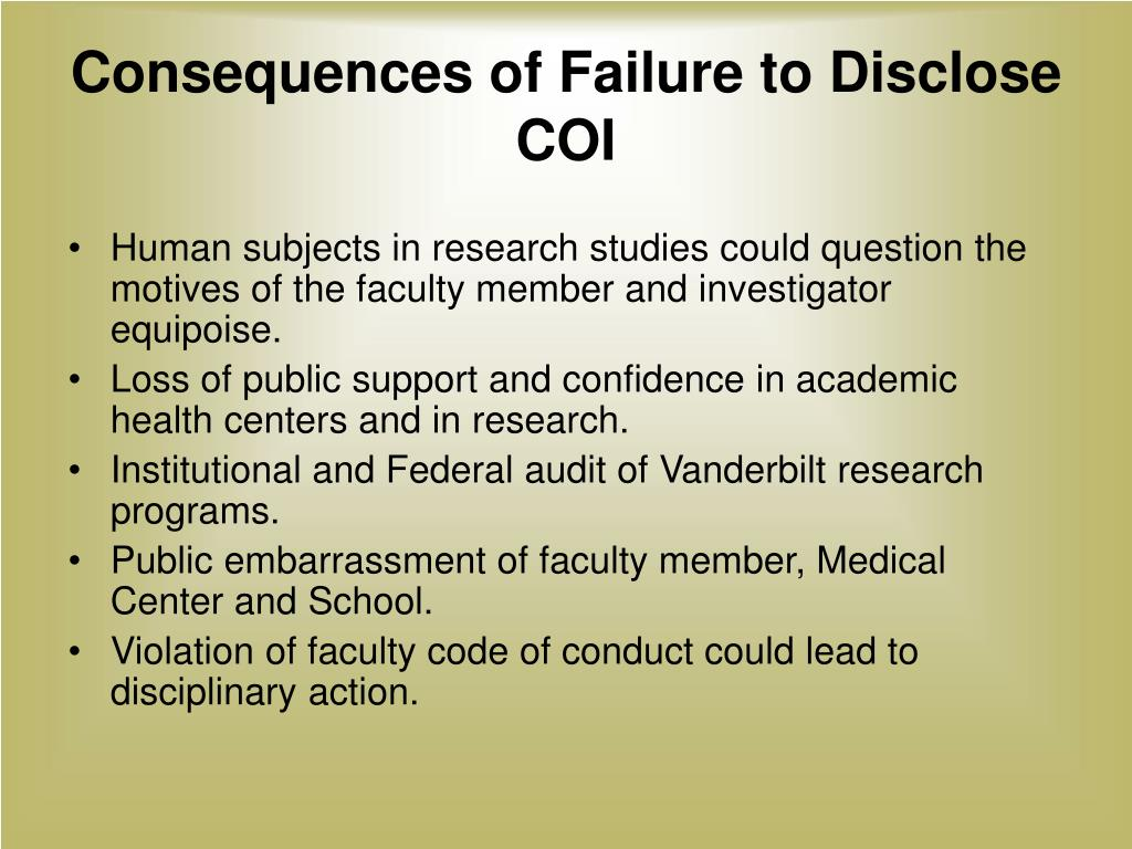 Consequences of Failure to Disclose COI