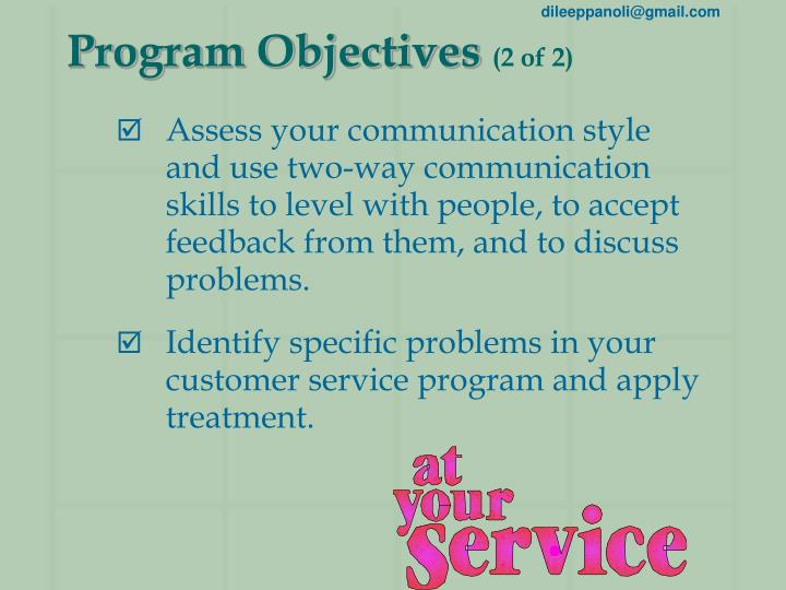 Program objectives 2 of 2