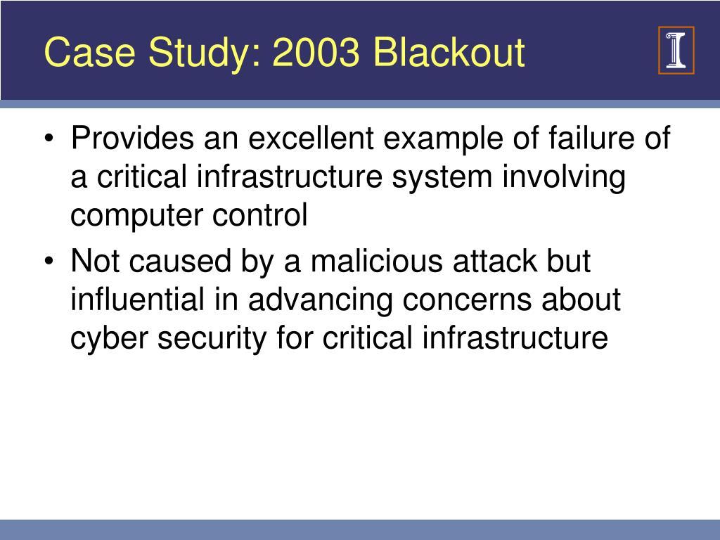Case Study: 2003 Blackout