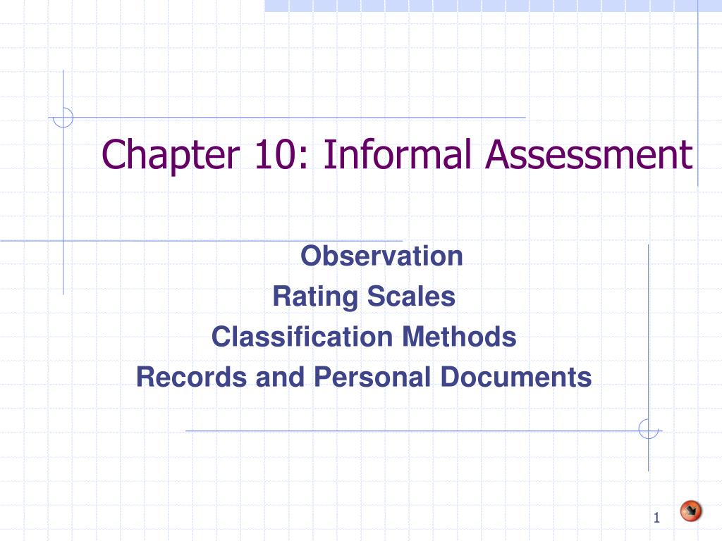 Chapter 10: Informal Assessment