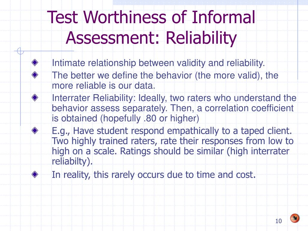 Test Worthiness of Informal Assessment: Reliability
