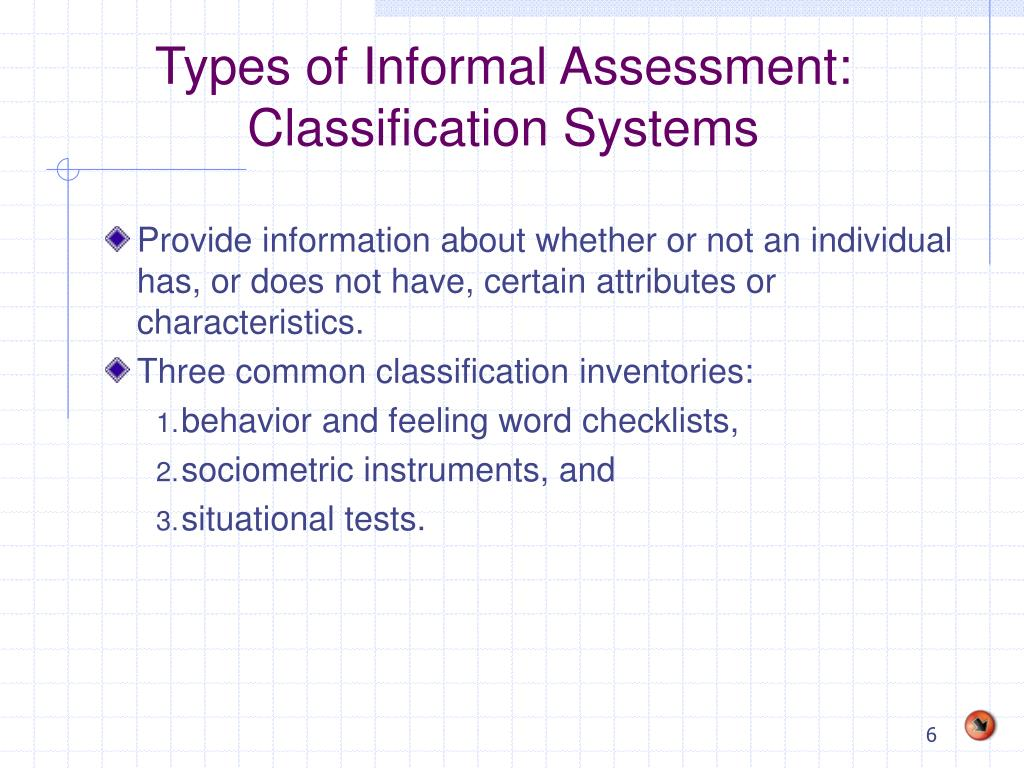 Types of Informal Assessment: Classification Systems