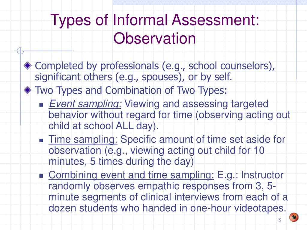 Types of Informal Assessment: Observation