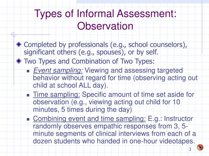 Types of informal assessment observation