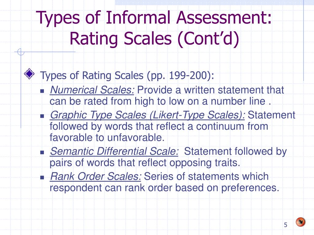 Types of Informal Assessment: Rating Scales (Cont'd)