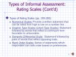 types of informal assessment rating scales cont d5