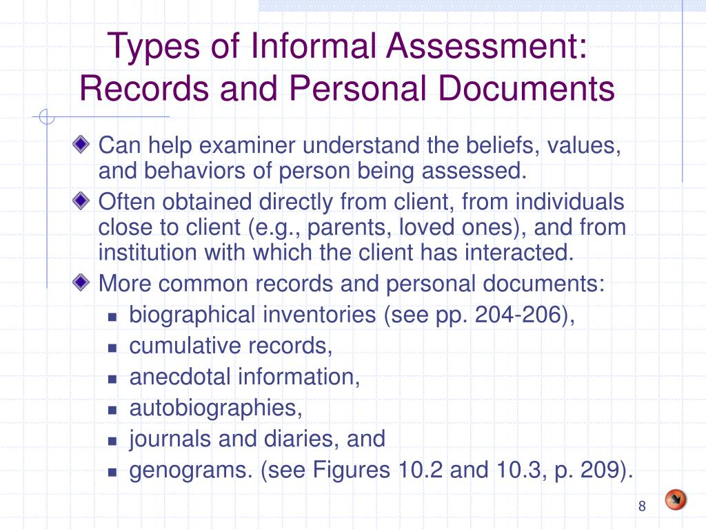 Types of Informal Assessment: Records and Personal Documents