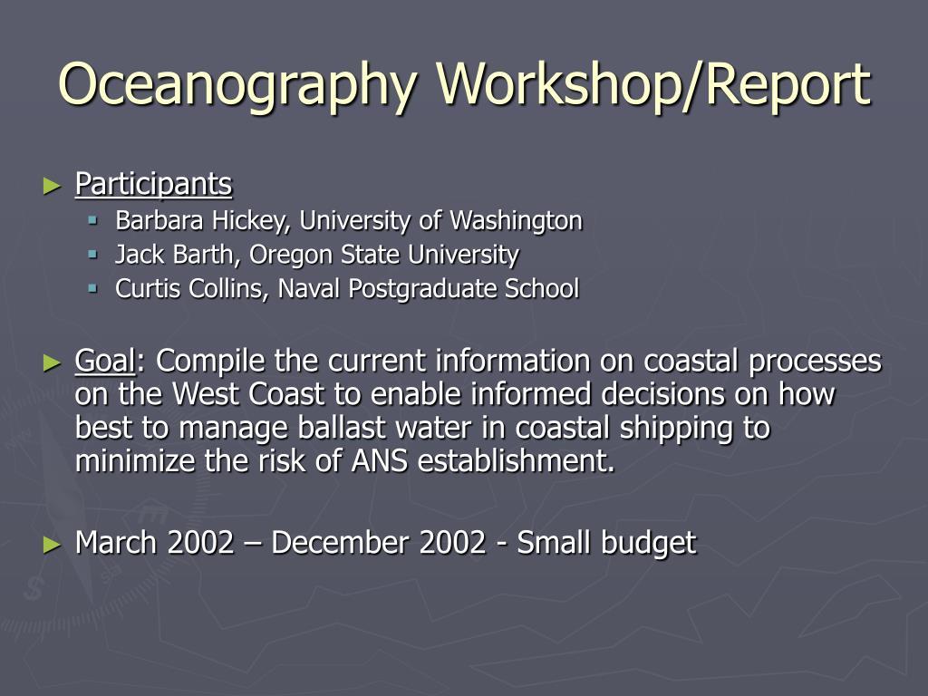 Oceanography Workshop/Report