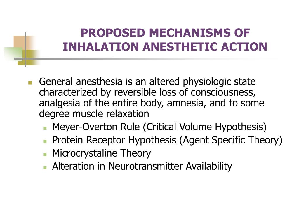 PROPOSED MECHANISMS OF INHALATION ANESTHETIC ACTION