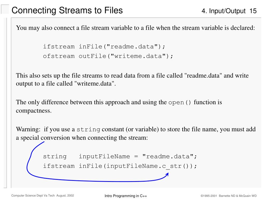 Connecting Streams to Files