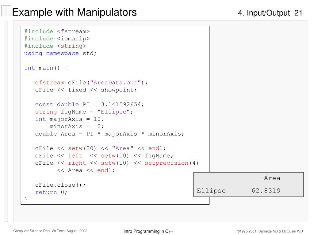 Example with Manipulators