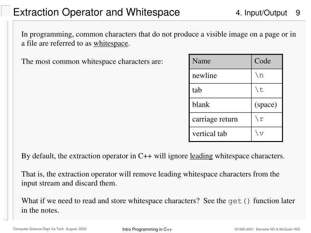 Extraction Operator and Whitespace