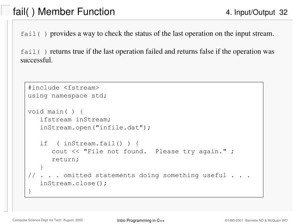 fail( ) Member Function
