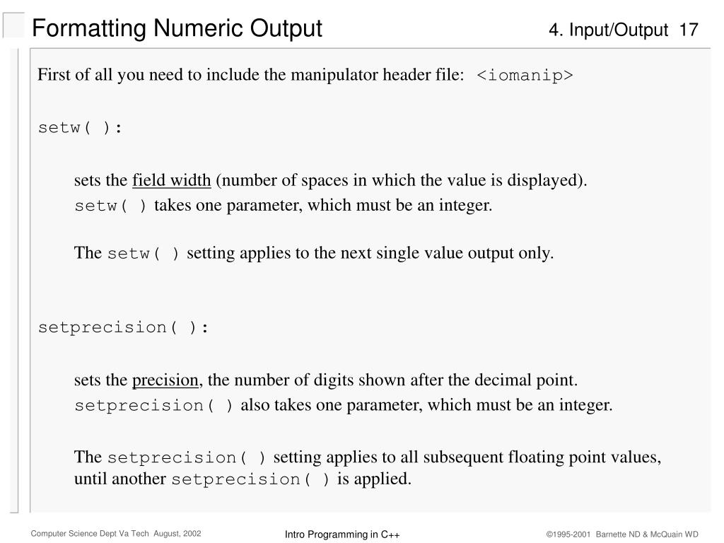 Formatting Numeric Output