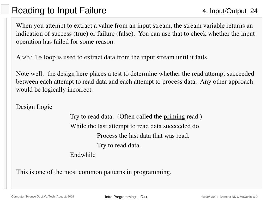 Reading to Input Failure