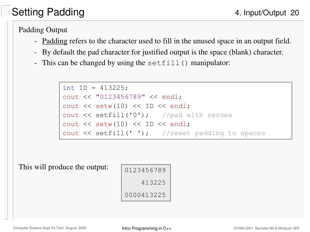 Setting Padding