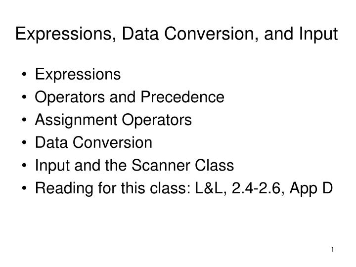 Expressions data conversion and input