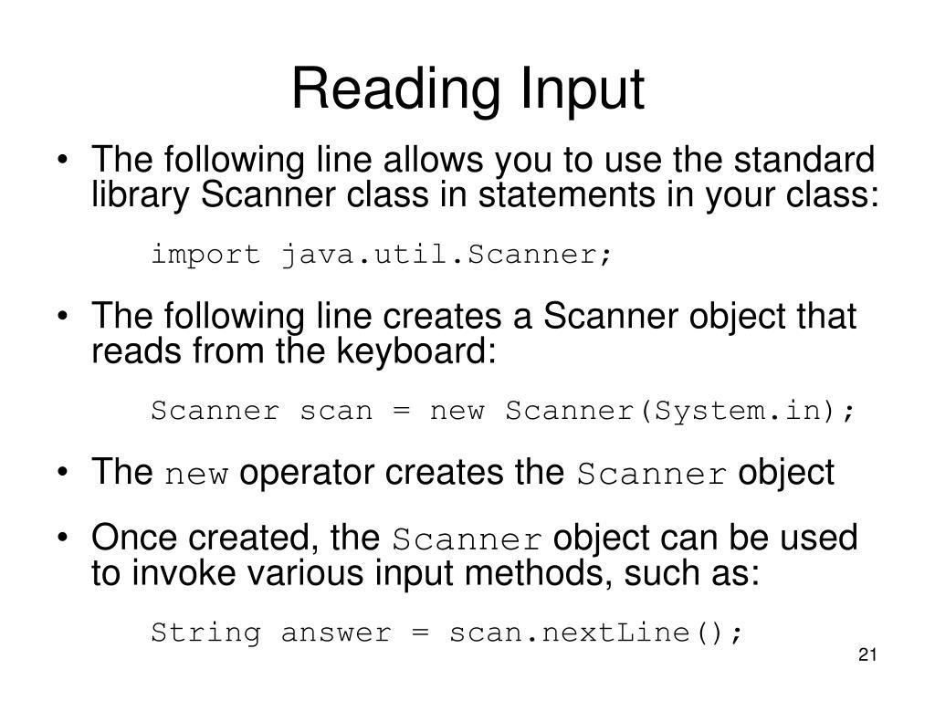 Reading Input