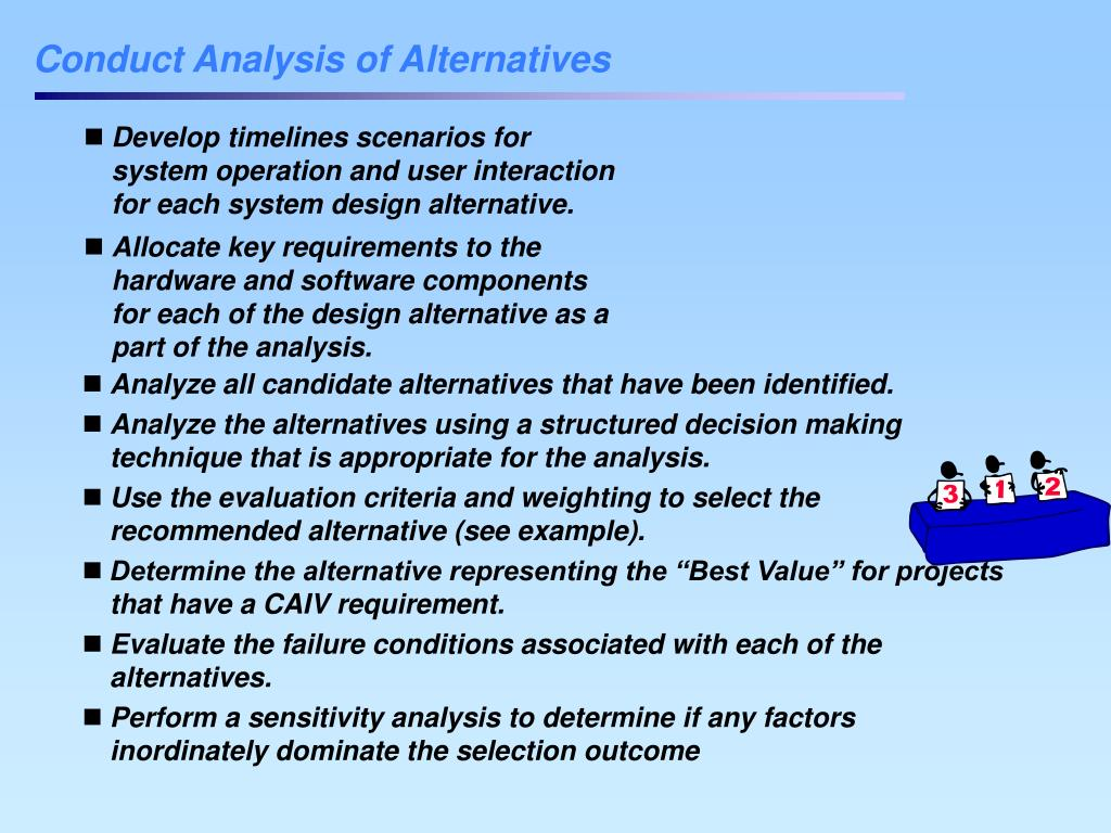 Conduct Analysis of Alternatives