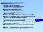 conduct analysis of alternatives