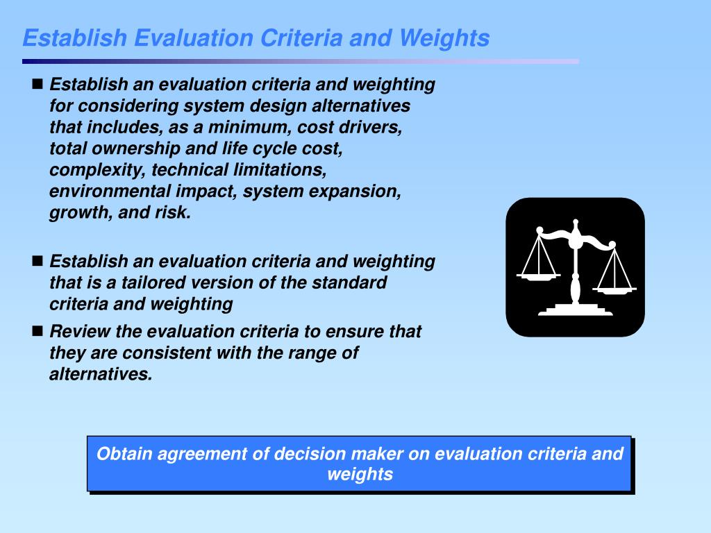 Establish Evaluation Criteria and Weights