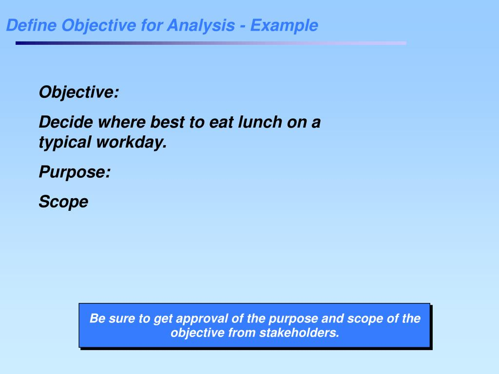Define Objective for Analysis - Example