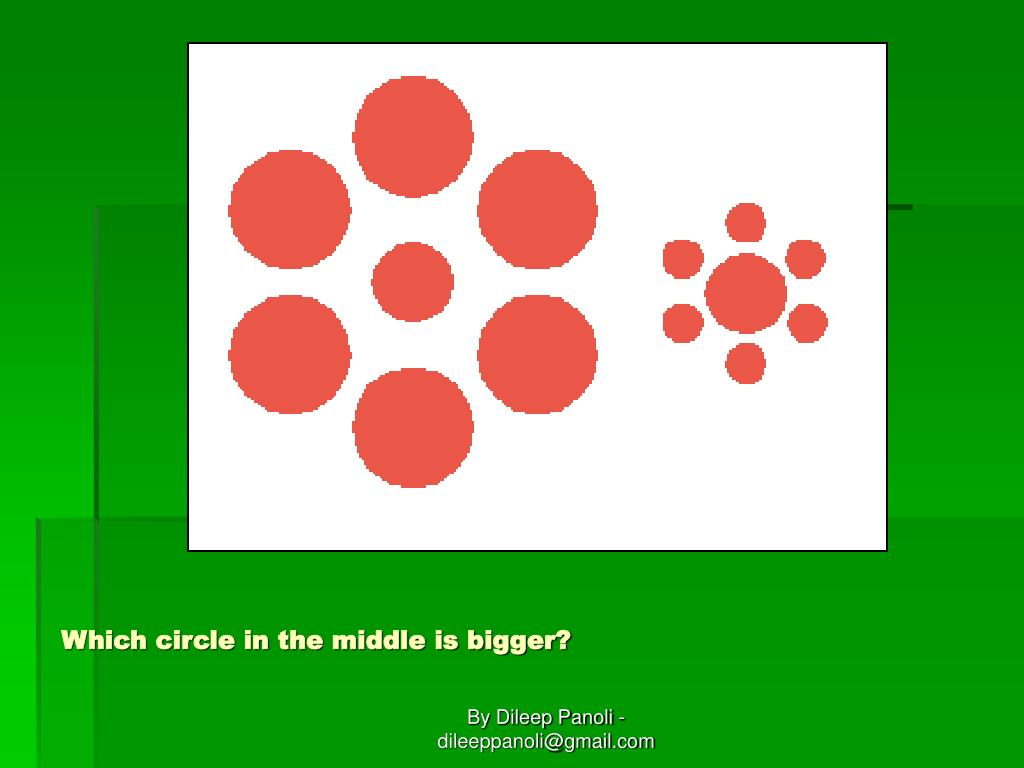 Which circle in the middle is bigger?
